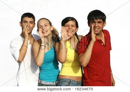 A group of mixed race kids shouting on white background