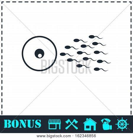 Fertilization icon flat. Simple vector symbol and bonus icon
