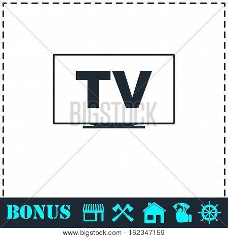 TV icon flat. Simple vector symbol and bonus icon