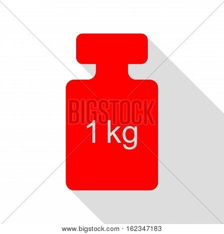 Weight Simple Sign. Red Icon With Flat Style Shadow Path.