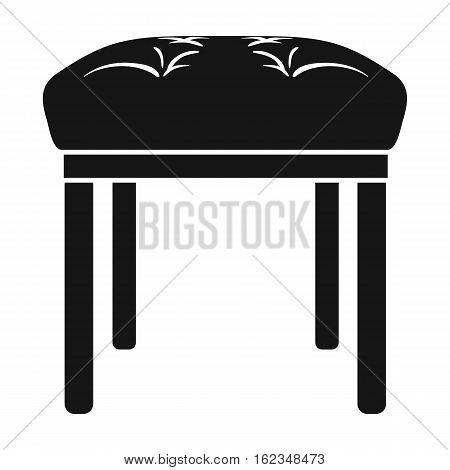 Stool icon in black style isolated on white background. Furniture and home interior symbol vector illustration.