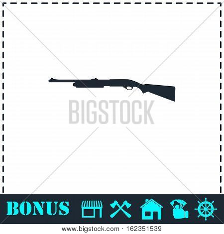 Shotgun icon flat. Simple vector symbol and bonus icon
