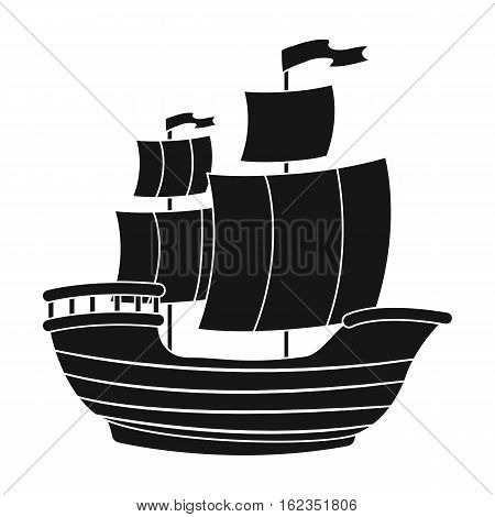 Pirate ship icon in black style isolated on white background. Pirates symbol vector illustration.