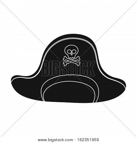 Pirate hat with skull icon in black style isolated on white background. Pirates symbol vector illustration.