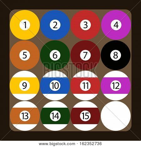 Set of color american billiard balls illustration. Gambling recreational symbol gamble equipment. Shiny round object pool game sport competition vector.