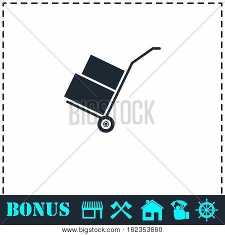 Handcart icon flat. Simple vector symbol and bonus icon