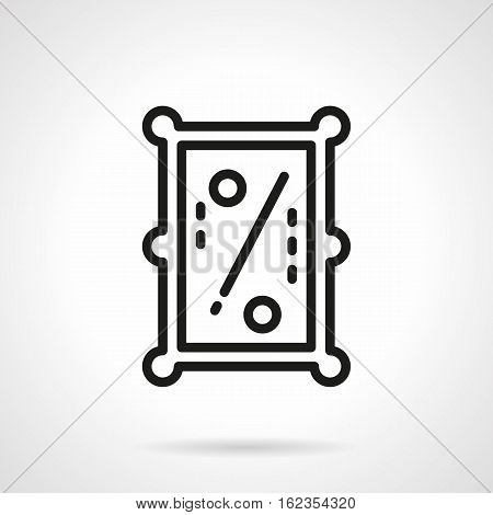 Abstract symbol of pool table a top view. Billiards with one cue and two balls. Game tournament, play online. Black simple line style vector icon.