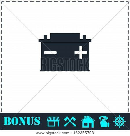 Car Battery icon flat. Simple vector symbol and bonus icon