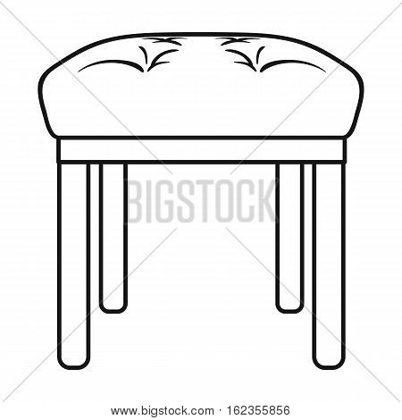 Stool icon in outline style isolated on white background. Furniture and home interior symbol vector illustration.