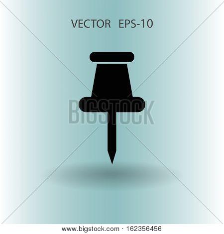 Flat shadow Pushpin icon, vector illustration