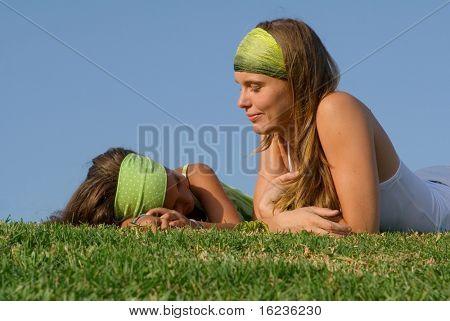 mum and kid chatting