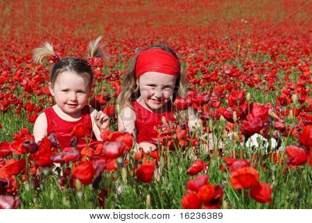 sisters in flower field