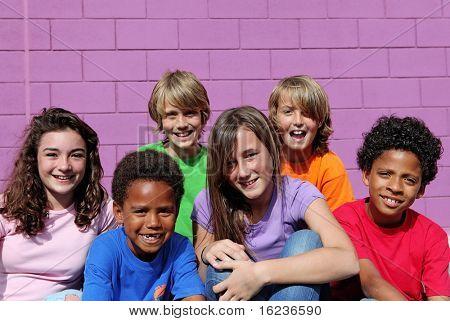 happy diverse kids or chldren