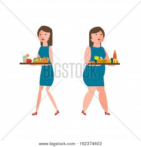 Food and women icons for lifestyle infographic. Overweight woman, unhealthy food and healthy eating slim girl. Vector illustration