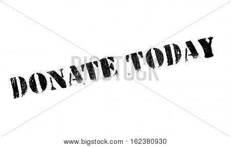Donate today stamp. Grunge design with dust scratches. Effects can be easily removed for a clean, crisp look. Color is easily changed.