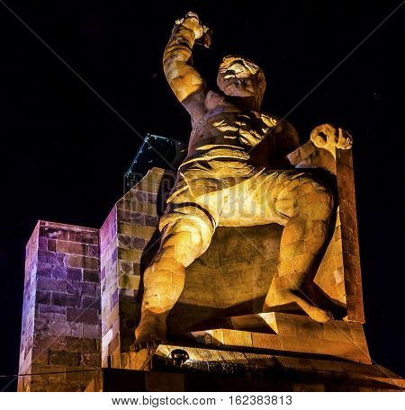 El Pipila Statue Night Stars Guanajuato Mexico. El Pipila is Juan Jose Martinez a miner who led the assault against the Fort/Granary in Guanajuato in the 1810 Mexican War of Independence. Statue created in 1939 by sculptor Juan Fernando Olaguibel.