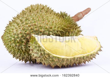 yellow durian  mon thong is king of fruits durian and  durian peeled fruit plate tropical durian on white background healthy durian fruit food isolated close up