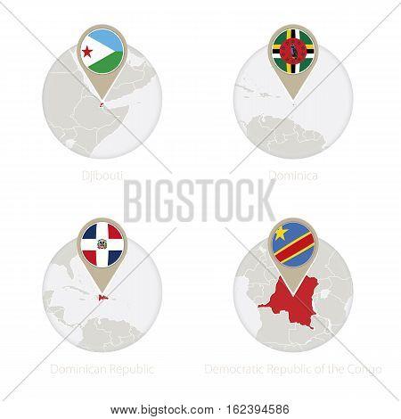 Djibouti, Dominica, Dominican Republic, Democratic Republic Of The Congo Map And Flag In Circle.
