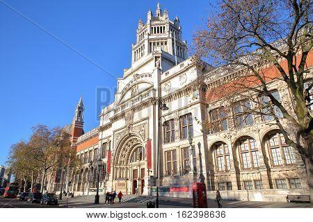 LONDON, UK - NOVEMBER 28, 2016: The external facade of Victoria and Albert Museum in South Kensington