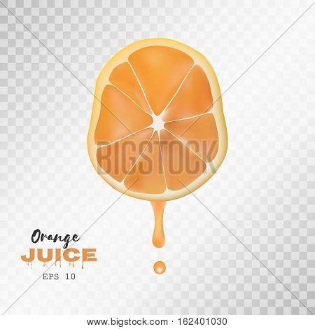 Vector realistic sliced orange with drop of juice. Juicy fruit presentations postcards cards brochures and banners , Poster banner print advertisement design object on light grey transparent background
