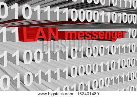 LAN messenger in the form of binary code, 3D illustration