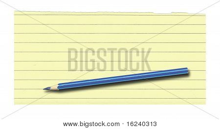 Yellow Lined Paper And Pencil