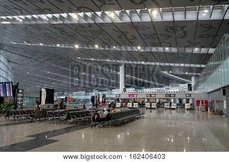 KOLKATA, INDIA - FEBRUARY 12: Netaji Subhas Chandra Bose International Airport, Kolkata (Calcutta), India on February 12, 2016.