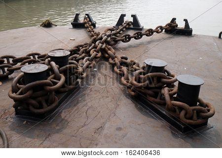 KOLKATA, INDIA - FEBRUARY 10: Giant chains used to moor ferry boats in Kolkata, India on February 10, 2016.