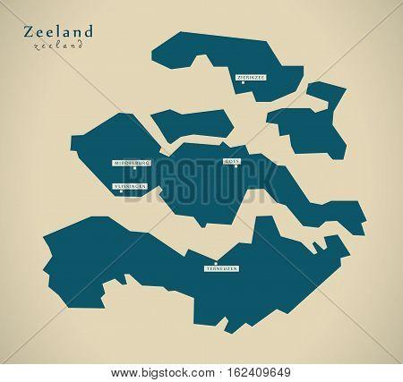 Modern Map - Zeeland Netherlands NL illustration