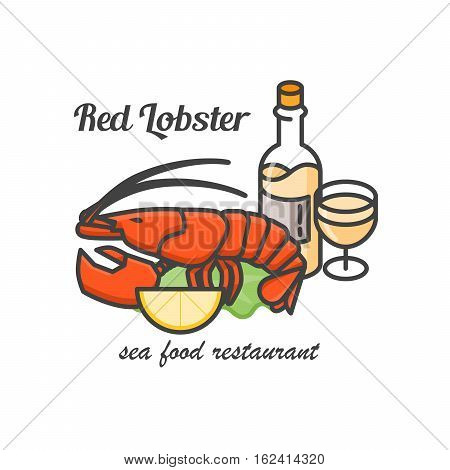Red lobster with white wine logo. Vector line art illustration. Restaurant of seafood badge