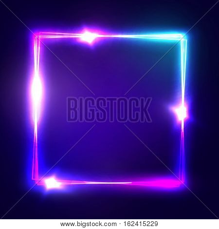Neon sign. Square frame with glowing and light. Electric bright 3d rectangle banner design on dark blue backdrop. Neon abstract background with flares and sparkles. Vintage vector illustration.