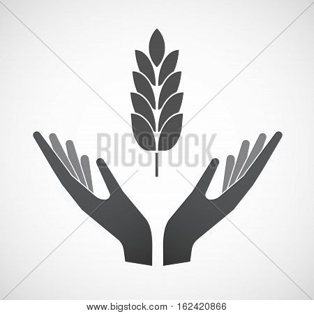 Isolated Hands Offering  A Wheat Plant Icon