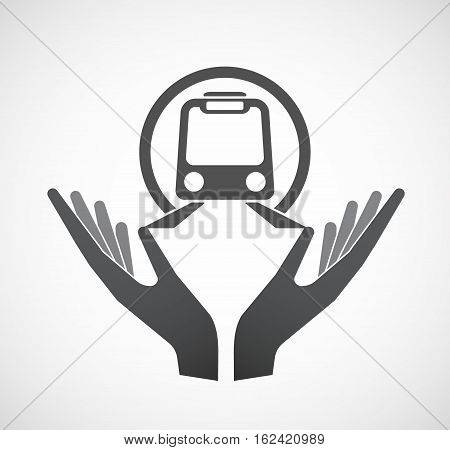Isolated Hands Offering  A Subway Train Icon