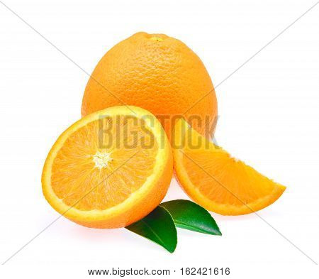 fresh orange fruit with leaf and water drop isolated on white background