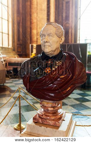 Saint Petersburg, Russia - July 26, 2014:  Bust Of The Architect Auguste De Montferrand In Saint Isa