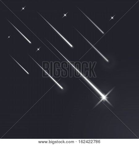 Shooting stars, light of falling of a meteorite in the galaxy. Vector illustration cosmos