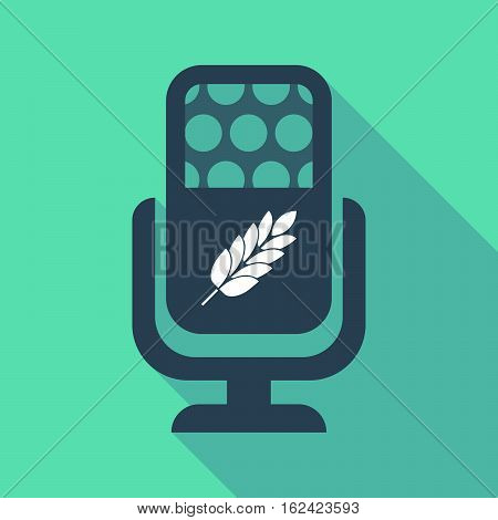 Long Shadow Microphone  With  A Wheat Plant Icon