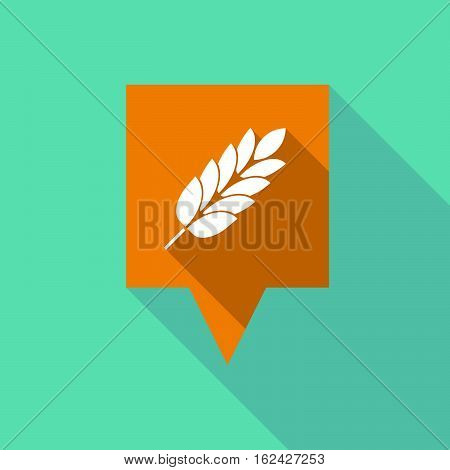 Long Shadow Tooltip With  A Wheat Plant Icon