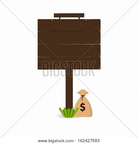 Wooden signpost with grass and money bag under signboard isolated on white background. Empty place for your text. Vector illustration
