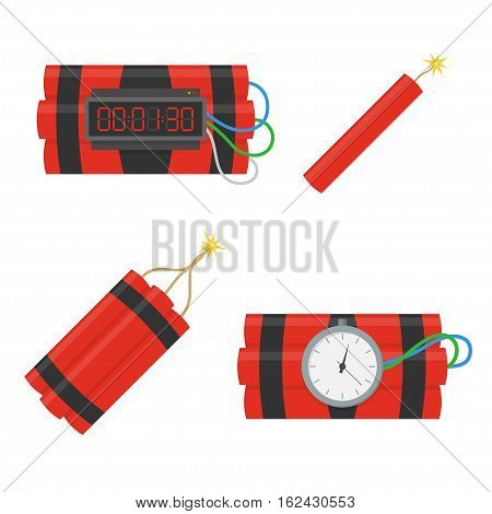 Dynamite bomb vector icons set in flat style. Installed a bomb with a timer and a bunch of dynamite with a burning stick fitelem isolated from the background. Dynamite is going to explode or detonate.