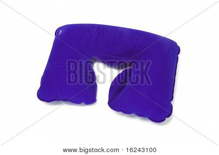 an inflatable travel cervical pillow isolated on a white background