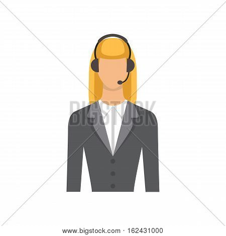Service businesswoman. Female customer support phone operator in headset - Vector flat icon isolated.