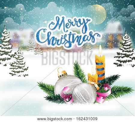 Evening city winter landscape with snow-covered houses and Christmas decorations with candles on the foreground. Christmas holidays vector illustration