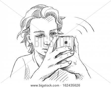 Sketch of teenage girl character using smart phone, Hand drawn vector illustration