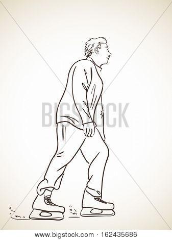 Sketch of man skating on ice, Hand drawn vector illustration