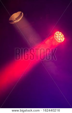 Stage Spot Lights With Smoke In Beams
