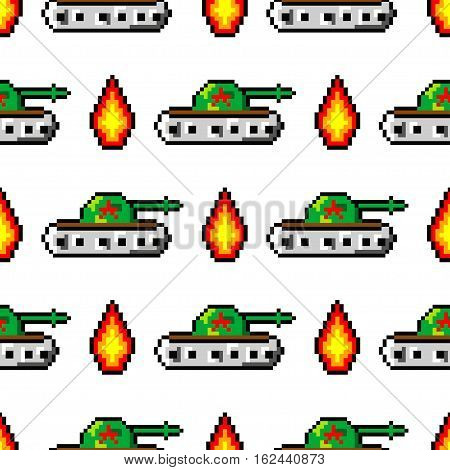 Pixel art vector objects to create Fashion seamless pattern. Background with tanks, boom, for boys. trendy 80s-90s pixel art style