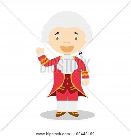 Wolfgang Amadeus Mozart cartoon character. Vector Illustration. Kids Collection.