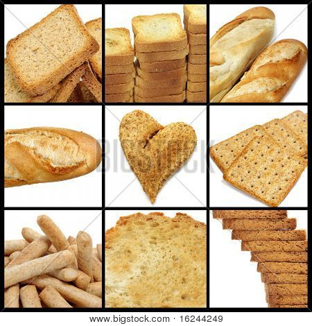 a collage of nine pictures of different kind of bread