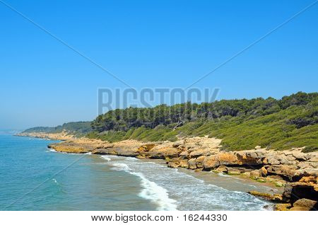 A view of Punta de la Mora beaches, in Tarragona, Spain